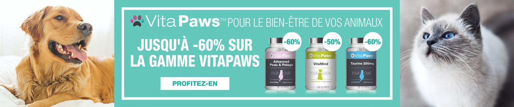 VitaPaws - Pour le bien-être de vos animaux - Jusqu'à -60% sur la gamme VitaPaws