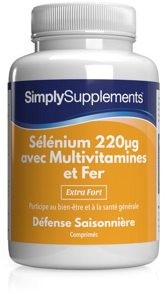 Sélénium 220mcg avec Multivitamines et Fer